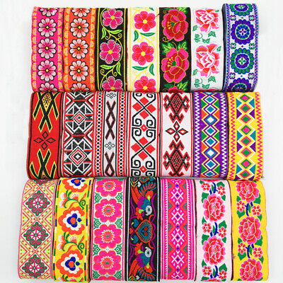 7 Yards Vintage Floral Embroidered Jacquard Ribbon Trim Braid Lace Fringe Crafts • 5.28£