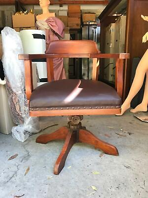 AU595 • Buy Vintage 70s Style Leather & Wooden Armchair