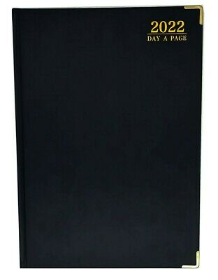 £14.99 • Buy Professional A4 2022 Diary Page A Day Planner Work PU Leather Cover Black & Gold