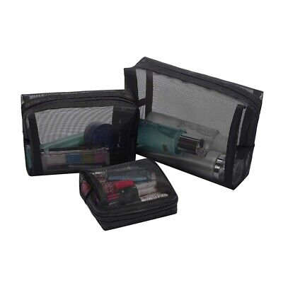 £6.16 • Buy Black Mesh Makeup Bag See Through Zipper Pouch Travel Cosmetic And Toiletri