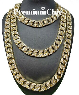 $15.49 • Buy ICED Miami Cuban Choker Chain Necklace Hip Hop Mens Gold Silver 14mm 16  - 30