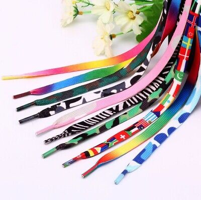 AU4.95 • Buy Shoelaces Colorful Coloured ( Flat ) Bootlace Sneakers Shoes Boots Laces Strings