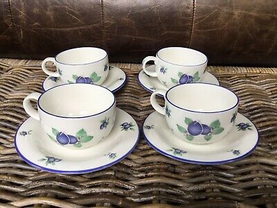 Royal Doulton Everyday Blueberry TC1204 – 4 Cups & 4 Saucers • 12£