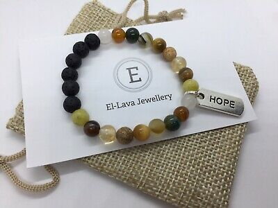 AU12 • Buy Essential Oil Diffuser Bracelet Featuring Lava Rock & Natural Gemstones 15cm