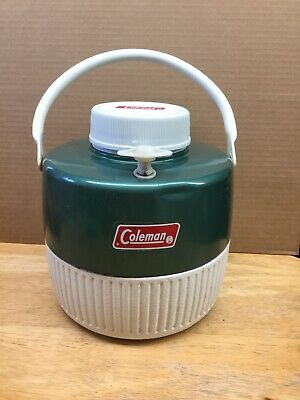 $20 • Buy Coleman Green White 1 Gal Thermos Cooler Water Jug 1974 Camping Glamping NICE