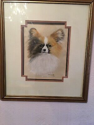 £29 • Buy Original Red R/w Papillon Butterfly Dog Toy Spaniel Oil Pastel Painting Signed