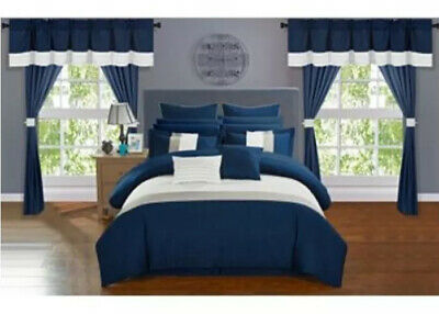 $ CDN126.59 • Buy Vixen 24 Piece Comforter Set Navy Blue Size:Queen