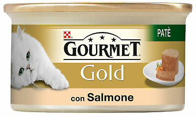 Set 12 GOURMET Gold Cans Pate ' Salmon 85 Gr Food For Cats • 13.26£