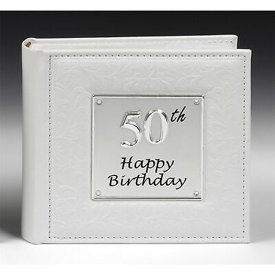 Deluxe Leather Effect White 50th Birthday Photo Album Hold 80 Photo Gift Present • 16.99£