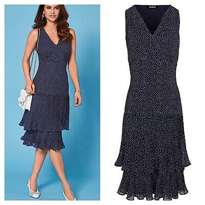 Kaleidoscope Sz 18 Navy Blue White Polka Dot Spot Layered Frill Skirt DRESS £69 • 21.99£