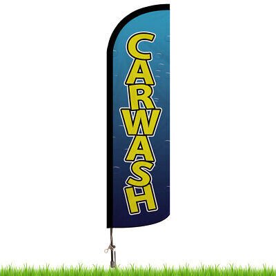 Car Wash Bubbles Advertising Feather Beach Flag & Pole And Base Forecourt Banner • 144.99£