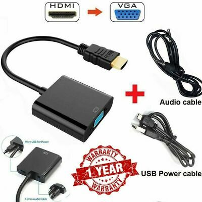 HDMI To VGA Audio Converter Adapter Output And Power In Micro Usb Cable Black UK • 4.25£