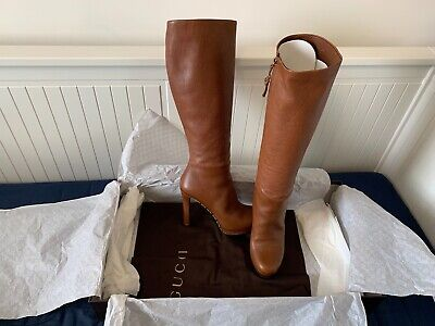 Gucci Knee High Womens Stiletto Brown Leather Boots Size Eur 38/UK 5 • 660£