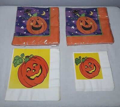 $ CDN5.27 • Buy Vintage Halloween Napkin Lot American Greetings And Ambassador Jack O Lanterns