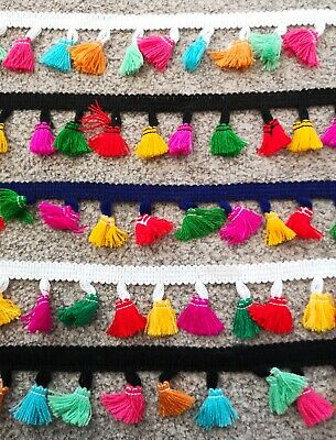 1m 3 Metre Multicoloured Rainbow Thread Tassel Trim Bunting Fringe Festival Trim • 1.25£