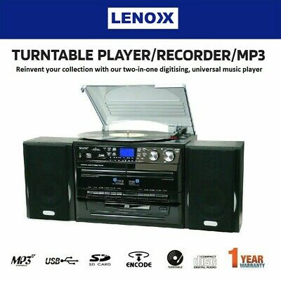 AU299.95 • Buy Stereo System Turntable Vinyl Record Player W/ Dual Cassette Recorder USB CD MP3