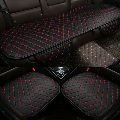 $ CDN40.25 • Buy 3X Car PU Leather Front+Rear Seat Cover Cushion Black+Red Line Chair Accessories