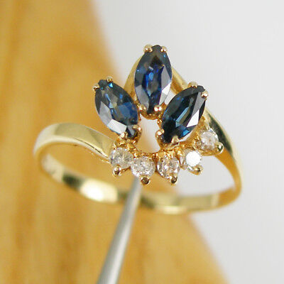 AU1720 • Buy 0.93ct Marquise Fine Blue Sapphire & Diamonds Ring Genuine 750 18k Yellow Gold