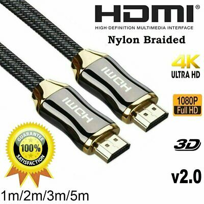 AU11.39 • Buy 4K Ultra HD Premium HDMI Cable V2.0 3D High Speed 30AWG Braided 1m 2m 3m 5m