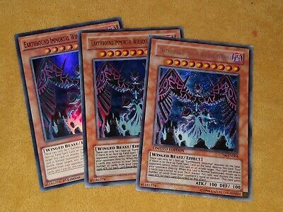 YUGIOH! Earthbound Immortal Wiraqocha Rasca SUPER/ULTRA/SECRET RARE X3 PLAYSET • 4.90£