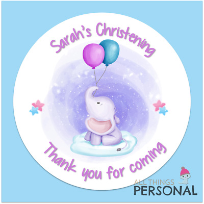 Personalised Christening Day Stickers Party Bag Sweet Cone Seals Thank You Girls • 2.49£