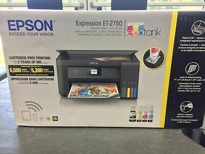 View Details Epson ET-2750 Expression EcoTank Wireless Color All-in-One Printer With Scanner • 200.00$