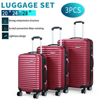 View Details 3 Piece Luggage Set Hardside ABS+PC Carry On Bag Travel Trolley Suitcase Spinner • 86.49$