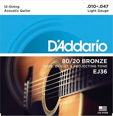$ CDN12.55 • Buy D'Addario EJ36 12-String 80/20 Light 10-47 Acoustic Guitar Strings