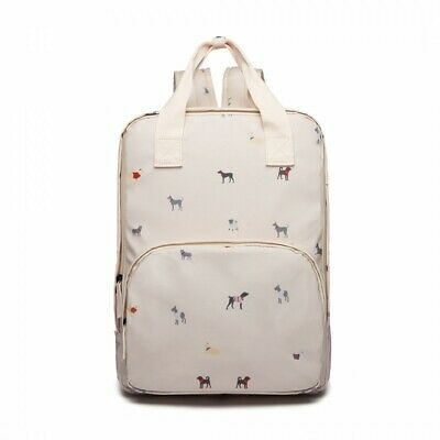 The Olive House® Womens Dogs In Jumpers Matte Oilcloth Laptop Rucksack Beige • 30.99£