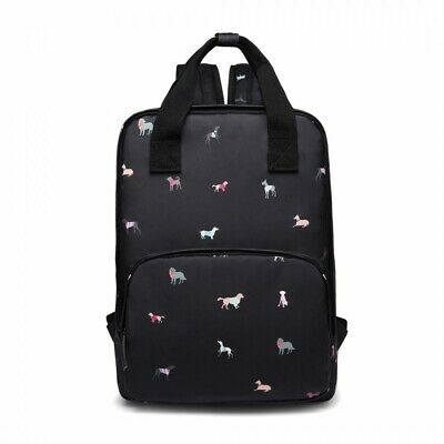The Olive House® Womens Dogs In Jumpers Matte Oilcloth Laptop Rucksack Black • 30.99£