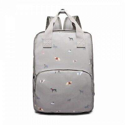 The Olive House® Womens Dogs In Jumpers Matte Oilcloth Laptop Rucksack Grey • 30.99£