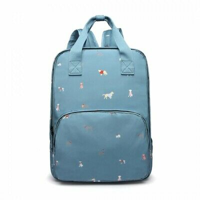 The Olive House® Womens Dogs In Jumpers Matte Oilcloth Laptop Rucksack Blue • 30.99£