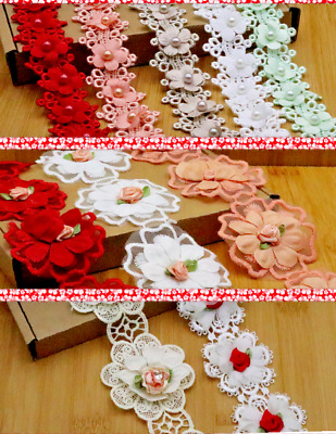 1 Yd Flower,Pearl, Satin Trim Wedding Embroidered Applique Diy Craft Sewing Lace • 2.99£