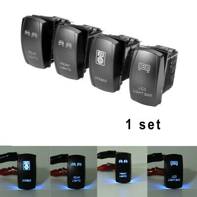 AU26.36 • Buy 4x SUV Car Boat 5-Pin Blue LED Light Bar ON/OFF Stereo Switch 12V Accessories