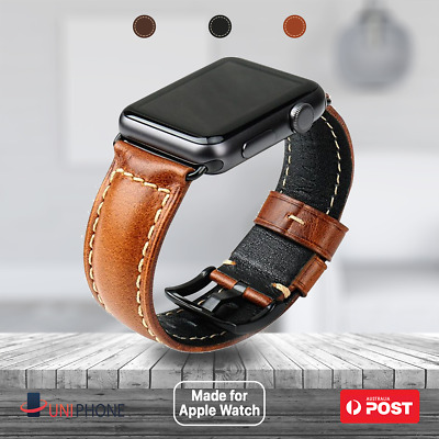 AU24.99 • Buy 【Luxury Leather】Apple Watch Oil Wax Band Strap Series 7 SE 6 5 4 3 2 1  41 44 45