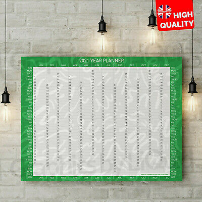 2020 Green Yearly Wall Planner Calendar Year To View Office Home | A4 A3 A2 A1 | • 2.99£