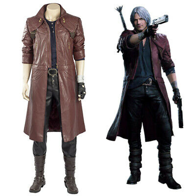 $129.53 • Buy Devil May Cry 5 Dante Cosplay Costume Leather Men Suit Halloween Full Set Outfit