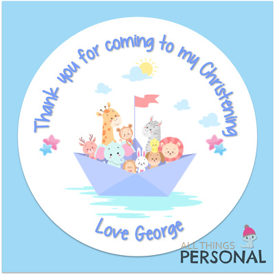 Personalised Christening Day Stickers Party Bag Sweet Cone Seals Thank You Boys • 2.25£