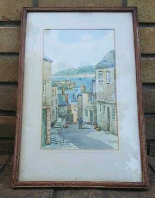 St Ives By W.Sands Watercolour Painting Framed Well Known Cornish Artist • 85£