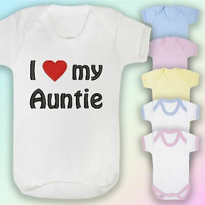I Love My Auntie Embroidered Baby Vest Gift Aunt Nephew Niece Heart • 6.75£