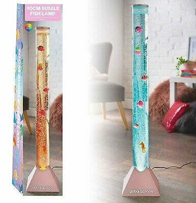 Rose Gold Large 90cm Colour Changing LED Sensory Water Bubble Floor Lamp + Fish • 29.99£