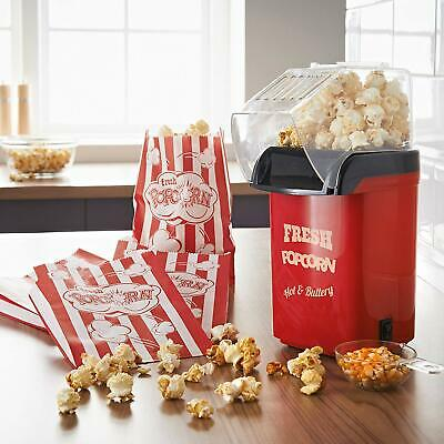 Healthy No Oil Fat Free Hot Air Home & Party 1200W Popcorn Maker Machine - RED • 914.95£
