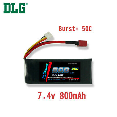 $ CDN15.99 • Buy Genuine DLG RC Battery 7.4V 2S 25C 800mAh Burst 50C Li-Po LiPo Dean's T Plug