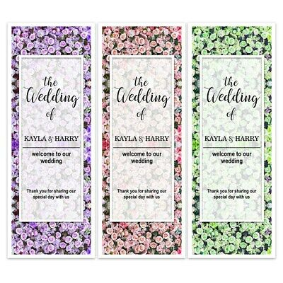 X 2 Personalised Wedding Day Night Floral Bloom Wall Banners Party Backdrop • 3.99£