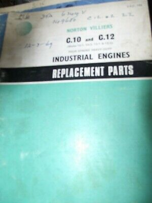Norton Villiers C10 / C,12 Industrial Engine Replacement Parts Book 1967 • 9.99£