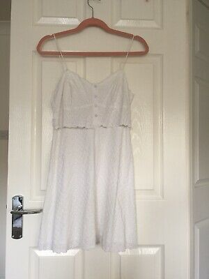 New Without Tags Topshop White Strappy Broderie Anglaise Cami Dress Size 10 • 12£