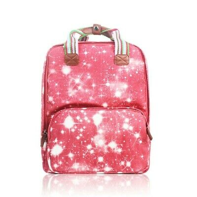 The Olive House® Galaxy Star Matte Oilcloth Rucksack Backpack Laptop Red • 24.99£