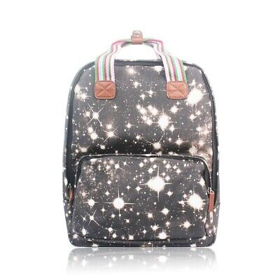The Olive House® Galaxy Star Matte Oilcloth Rucksack Backpack Laptop Black • 24.99£