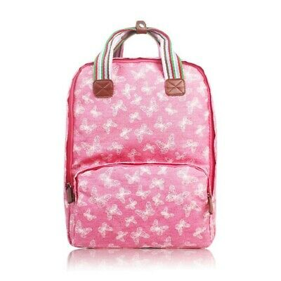 The Olive House® Womens Butterfly Print Matte Oilcloth Laptop Rucksack Bag Pink • 24.99£