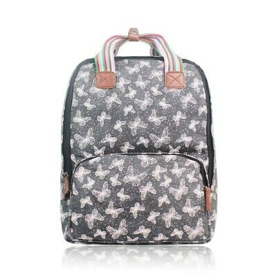 The Olive House® Womens Butterfly Print Matte Oilcloth Laptop Rucksack Bag Black • 24.99£